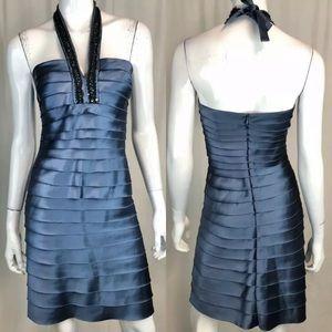 BCBG Maxazria Satin Layered Beaded Ruffle Dress